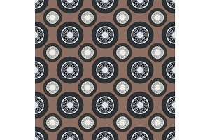 Retro car wheel seamless pattern vector illustration.