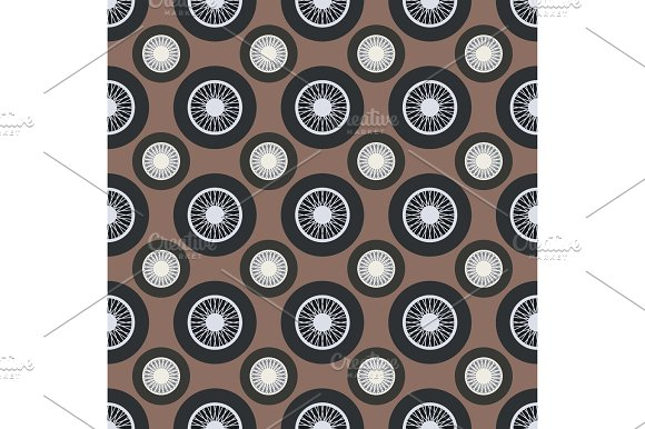 Retro Car Wheel Seamless Pattern Vector Illustration