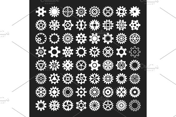 Gear Icons Isolated Vector Illustration