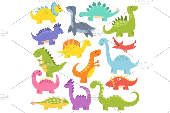 Cartoon Cute Dinosaurs Vector