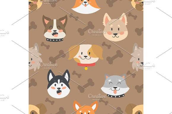 Dogs Heads Seamless Pattern Background Vector Set