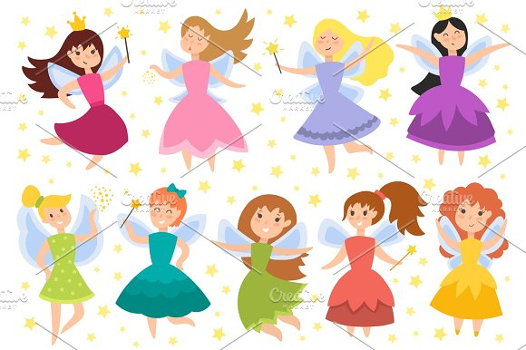 Fairy Princess Adorable Characters Vector