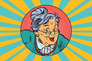 joyful intelligent grandmother pop art