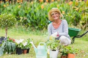 Happy grandmother gardening