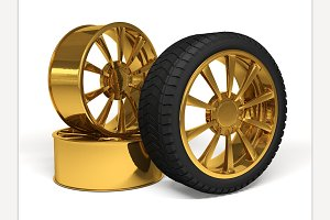 Car gold wheel 3d rendering