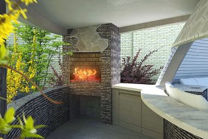 Modern gazebo fireplace