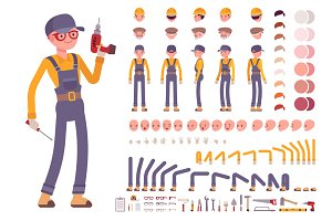 Male construction worker creation set