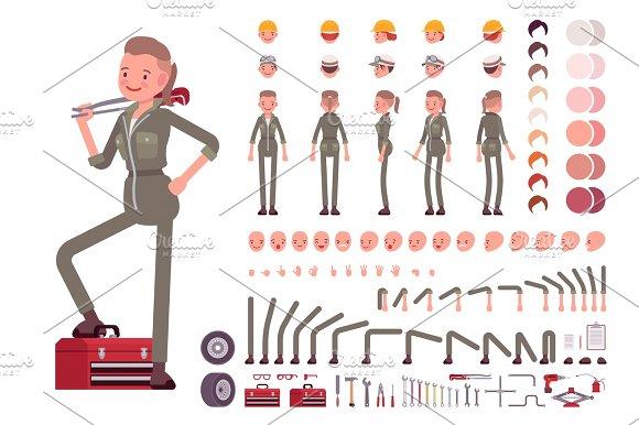 Female Mechanic Character Creation Set