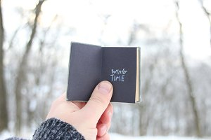 Winter time idea, hand holding a book with text on background of snowy winter park