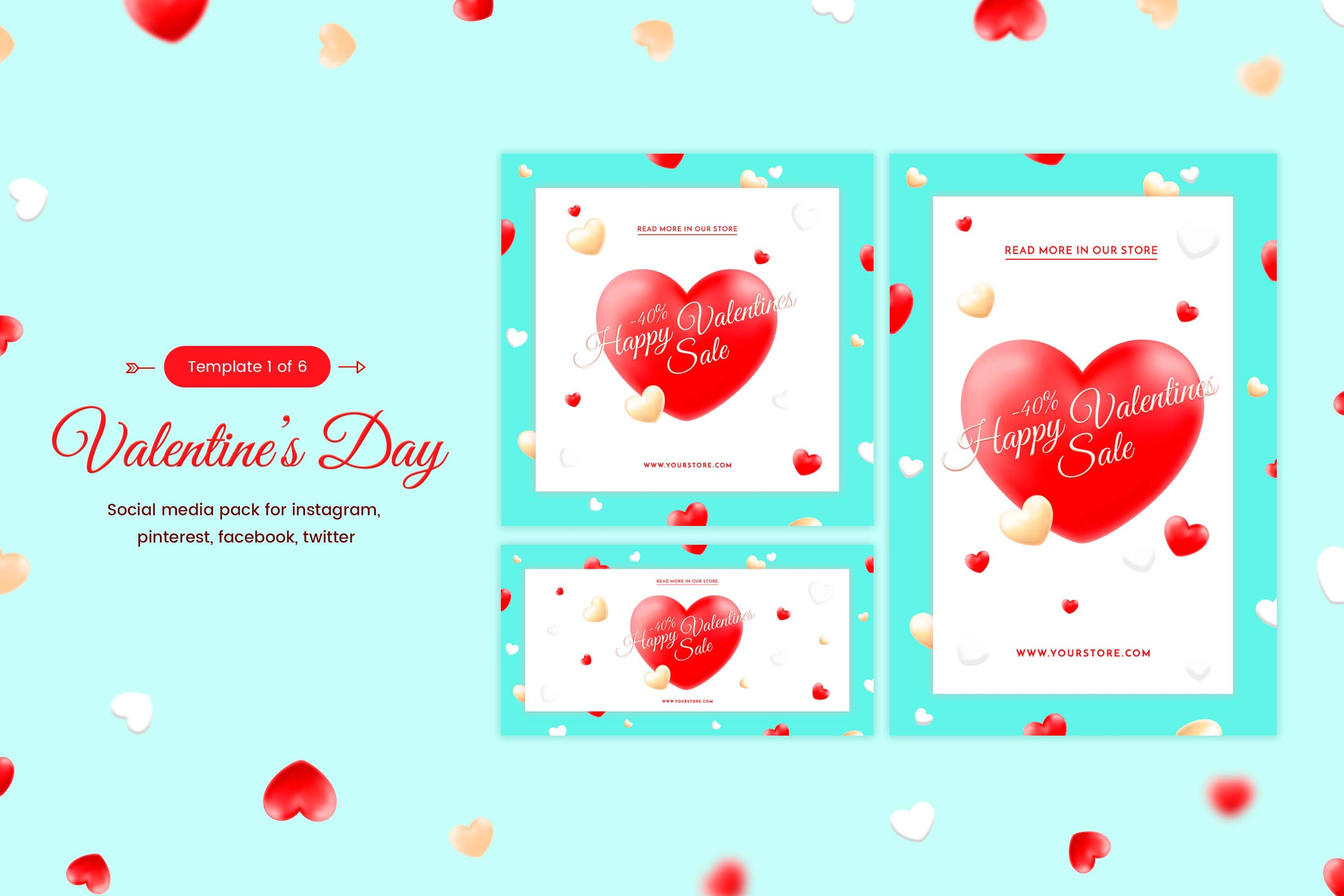 valentines day social template web elements creative market - Valentines Day Template