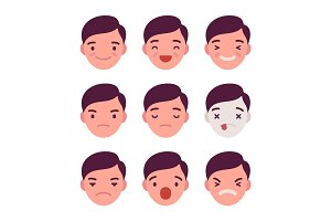 Set of 9 different emotions