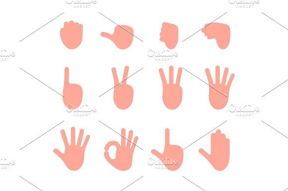 Set Of 12 Hand Gestures
