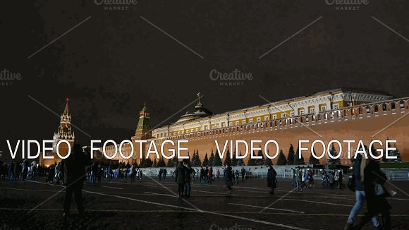 Kremlin Wall And The Mausoleum At Night Russia