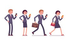 Office workers with smartphones