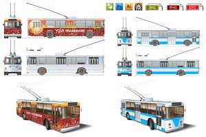 Urban trolleybus mockup pack