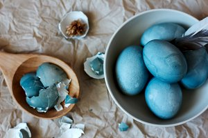 Blue easter eggs in a plate