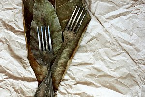Vintage cutlery on a paper