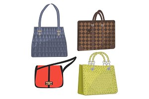 women leather color handbags isolated on white background
