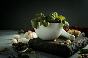 Ingredients for making pesto sauce