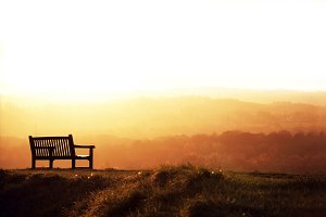 Alone bench at sunset.