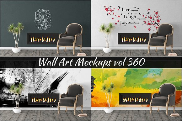 Wall Mockup Sticker Mockup Vol 360