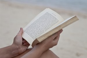 Reading book at the beach