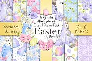 Easter Watercolor Digital Paper Pack
