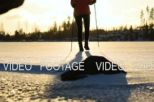 nordic walking on frozen lake
