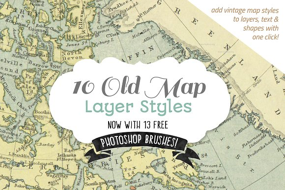 Vintage map styles bonus brushes layer styles creative market gumiabroncs Choice Image