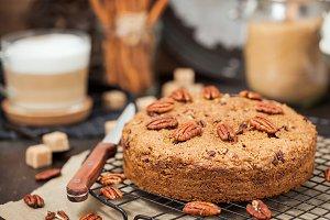 Cinnamon and pecan coffee cake