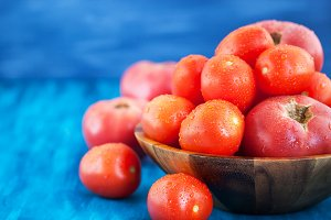 Ripe wet red tomatoes