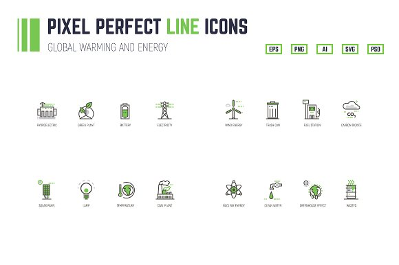Global Warming And Energy Line Icons