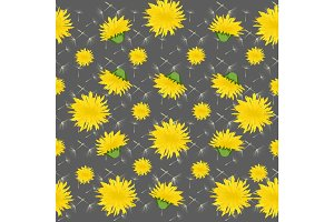 Vector illustration dandelions seamless pattern with leaves.