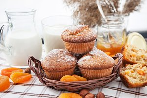 Homemade apricot muffins