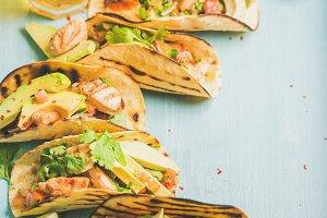 Corn chicken and avocado tortillas