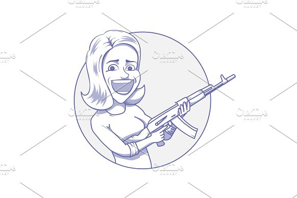 Happy Woman With Assault Rifle