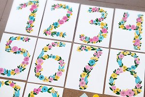 Floral numbers print watercolor clip