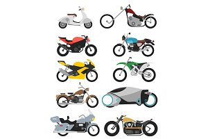set of 10 motorcycles isolated on white in modern flat style