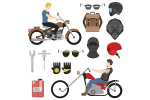 motorcyclist set, iclude tools, glasses, helmet, balaclava, backpack