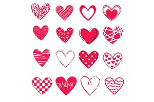 set of 16 different hearts isolated on white background, icons for st. valentines day