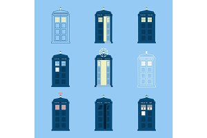 Set of British Police Boxes Icons  telephone ,  in London and England for  call  public