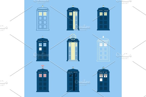 Set Of British Police Boxes Icons Telephone In London And England For Call Public