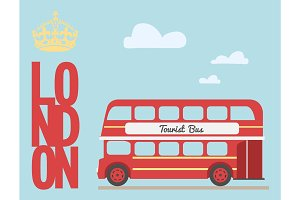 Double decker bus cartoon from England British tourist symbol London red ,  ,  word