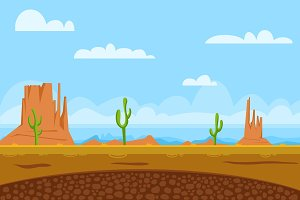 game flat background shows desert and monument valley in usa, sun, cactuses, mountains, sky
