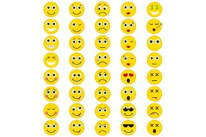 Set of Emoticons in trendy flat style.