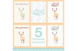 Christmas greeting card light and snowflakes vector background. Merry  holidays wish design  vintage ornament decoration, deer