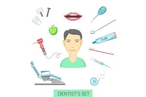Flat color teeth care concept square compositionof dentist and mediacal tools around him