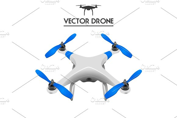 Realistic Drone Quadrocopter UAV Concept Art Controlling By Tablet Isolated On White