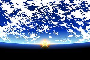 Rising Sun over the planet earth. space background