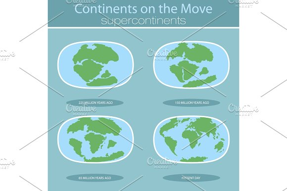 Tectonic Plates On The Planet Earth Modern Continents And Infographics Set Of Icons Flat Style